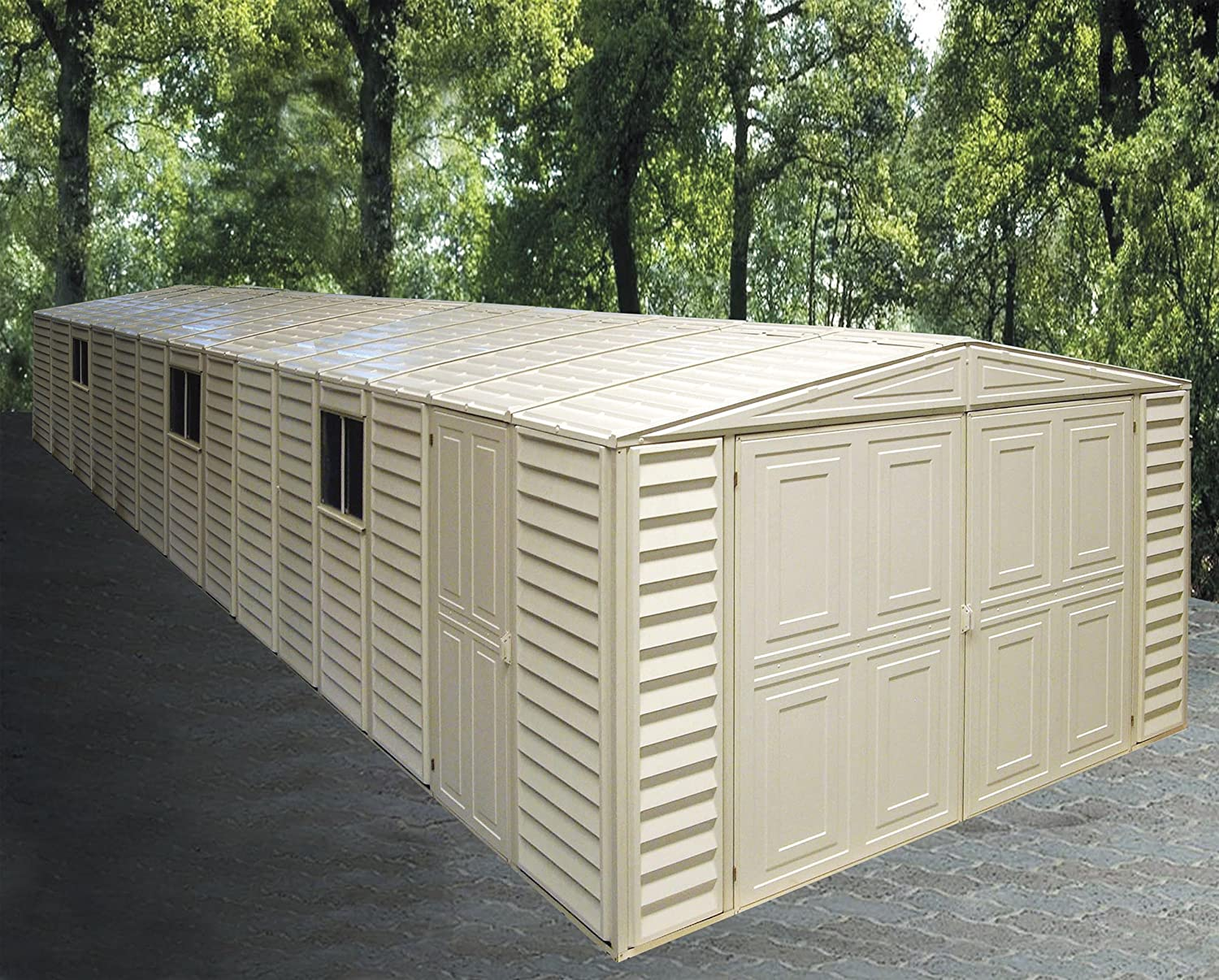 Amazon.com : Duramax 01514 Vinyl Garage Shed With Foundation And Window,  10.5 By 28.5 Feet : Storage Sheds : Garden U0026 Outdoor
