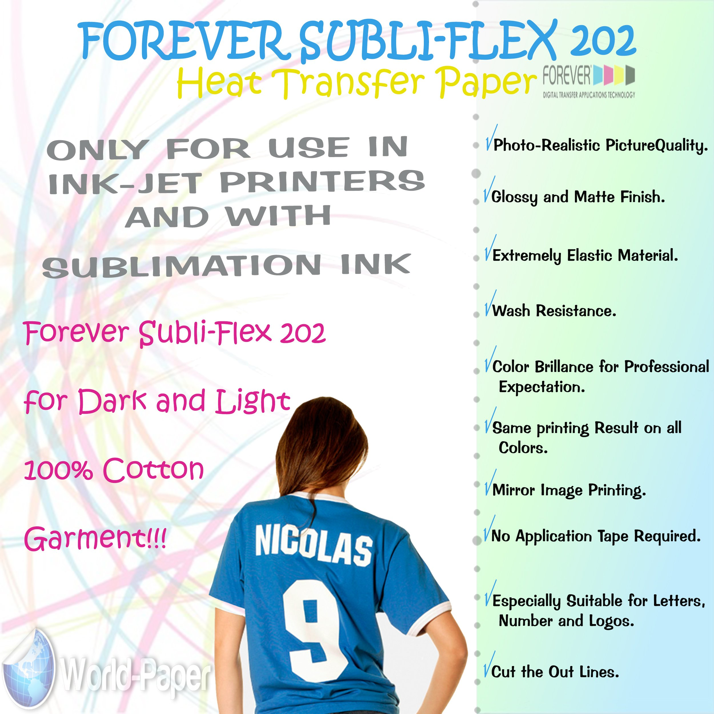 Cotton Sublimation Transfer Paper Forever SUBLI - Flex 202 (20 Sheets) by Forever Subli-Flex 202 World-Paper