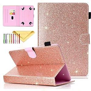 Cookk Bling Glitter Universal 9.5-10.5 Inch Tablet Case for iPad 4 3 2 1, iPad 5th/6th Gen, Galaxy Tab 3 10.1/ Tab 4 10.1/ Tab S3 9.7/ Tab E 9.6, Case for RCA 10 Viking Pro, MediaPad T3 10, Rosegold