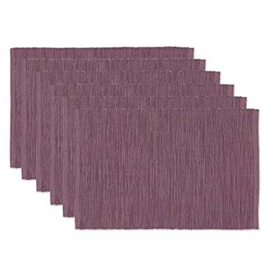 DII Washable Ribbed Cotton Placemat, Set of 6, Plum Perfect for Spring, Summer, Dinner Parties, BBQs, Weddings and Everyday Use, 13x19,