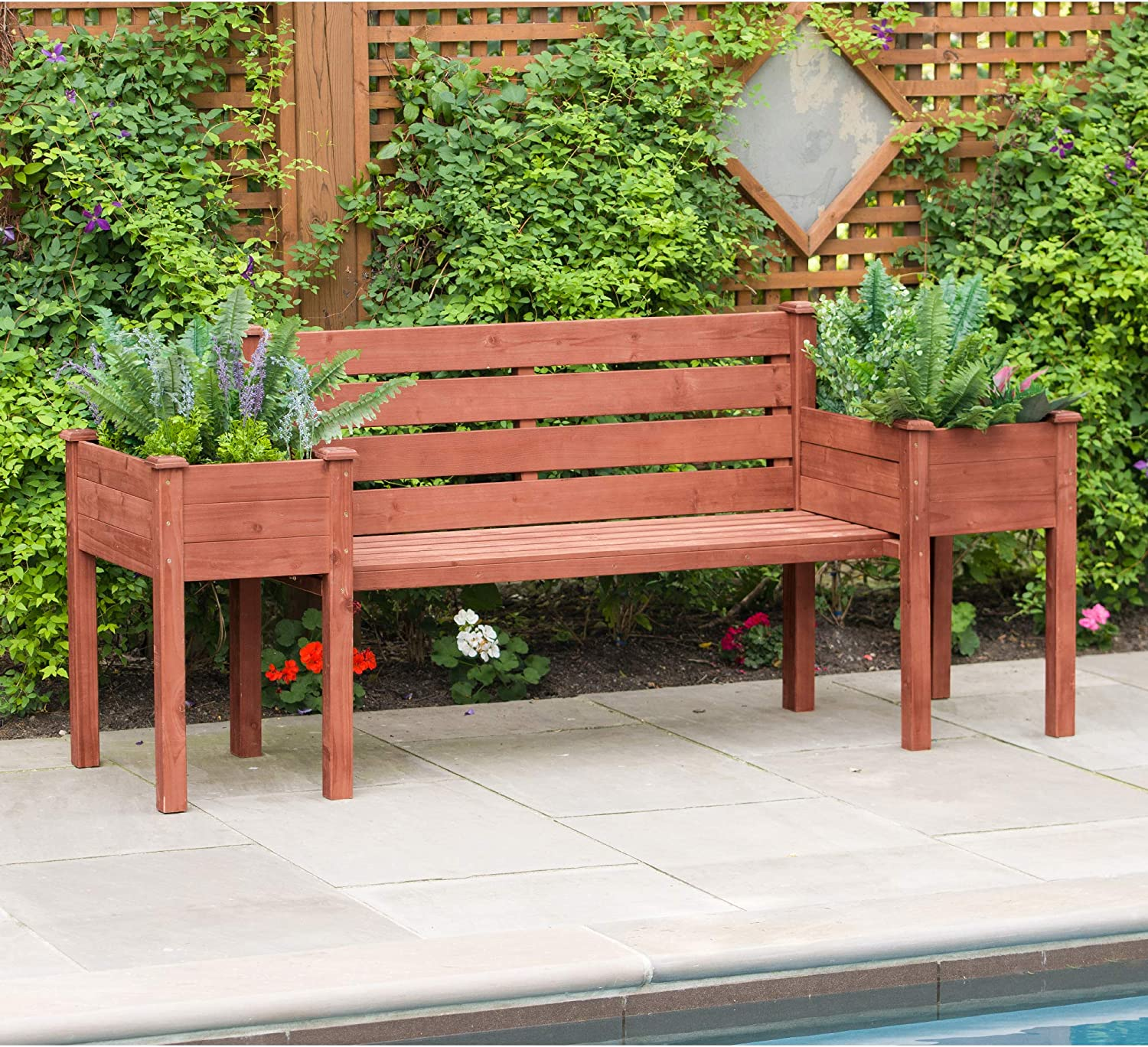 Leisure Season PBB7821 Wood Planter Bench - Brown - 1 Piece - Outdoor Wooden Seat with Raised Plant - Rustic Garden and Yard Decoration - Roses, Herb, Flower Display - Deck, Patio and Pergola Seating