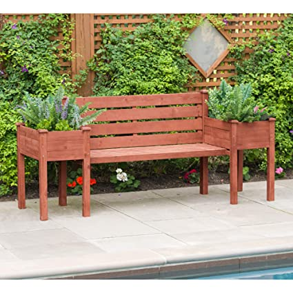 Prime Leisure Season Wood Bench With Raised Planter Box Ends Evergreenethics Interior Chair Design Evergreenethicsorg