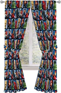 "Jay Franco Marvel Avengers Team 84"" inch Drapes 4 Piece Set - Beautiful Room Décor & Easy Set up - Window Curtains Include 2 Panels & 2 Tiebacks (Official Marvel Product)"