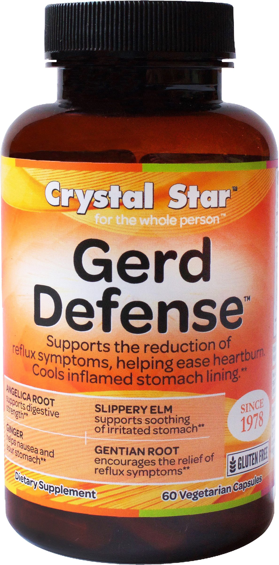 Crystal Star Gerd Defense Herbal Supplements, 60 Count