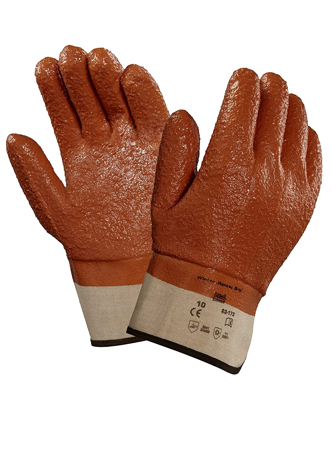 Image of Ansell 23173 Winter Monkey Grip Vinyl-Coated, Foam-Insulated Gloves, 11' Length, 5.5' Width, 0.92' Height, Size 10, Orange (Pack of 12)