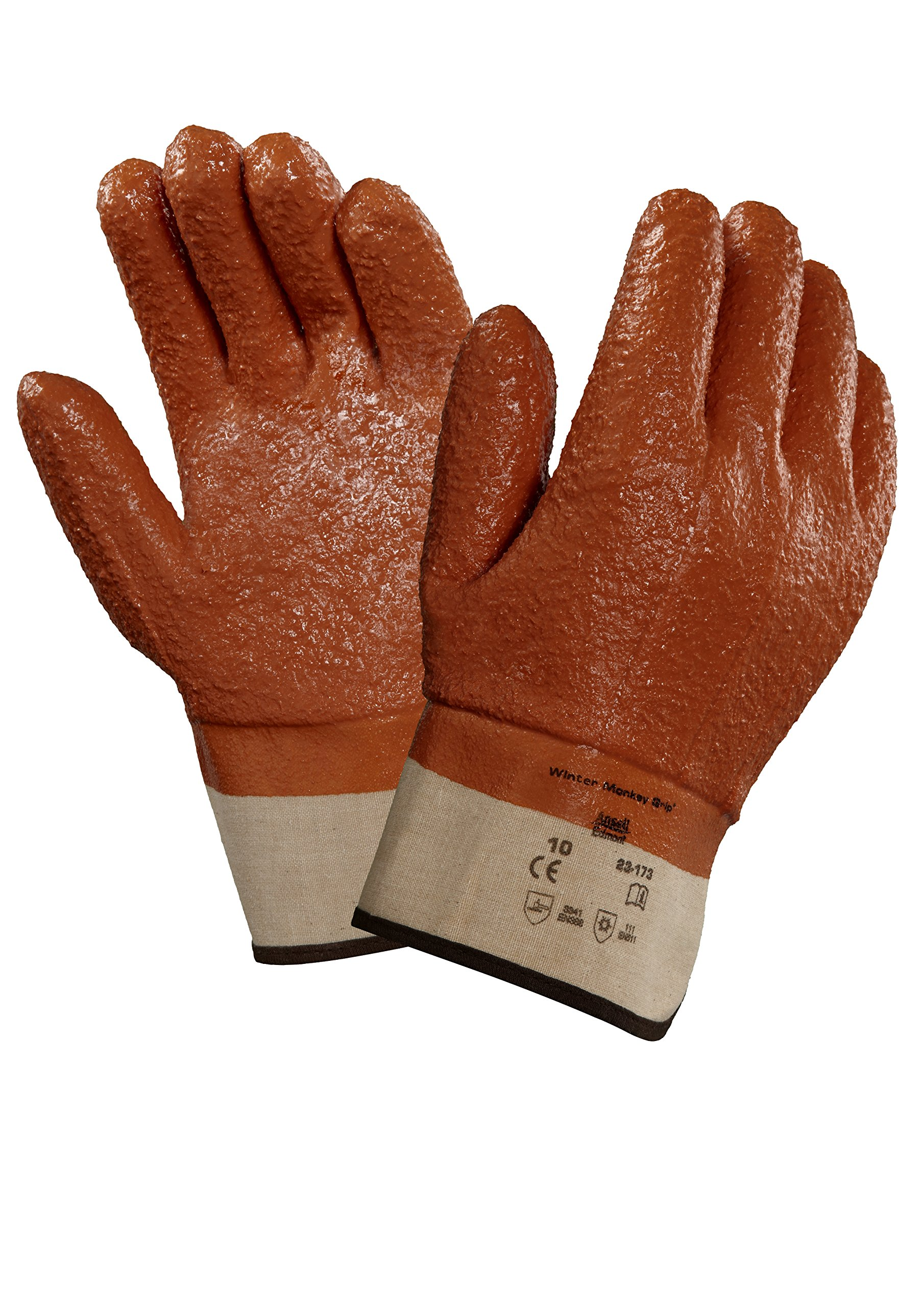 Ansell 23173 Winter Monkey Grip Vinyl-Coated, Foam-Insulated Gloves, 11'' Length, 5.5'' Width, 0.92'' Height, Size 10, Orange (Pack of 12) by Ansell (Image #1)