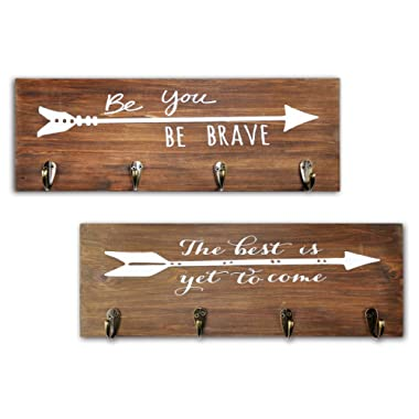 Spiretro Set of 2 Wall Mount Vintage Wood Plaque Hook Rack, Printed Arrow Sign and Inspirational Words, Coat Hat Bag Hang Organizer, Key Leash holder, 16.5 inch for Entryway Kids Room Hallway Closet