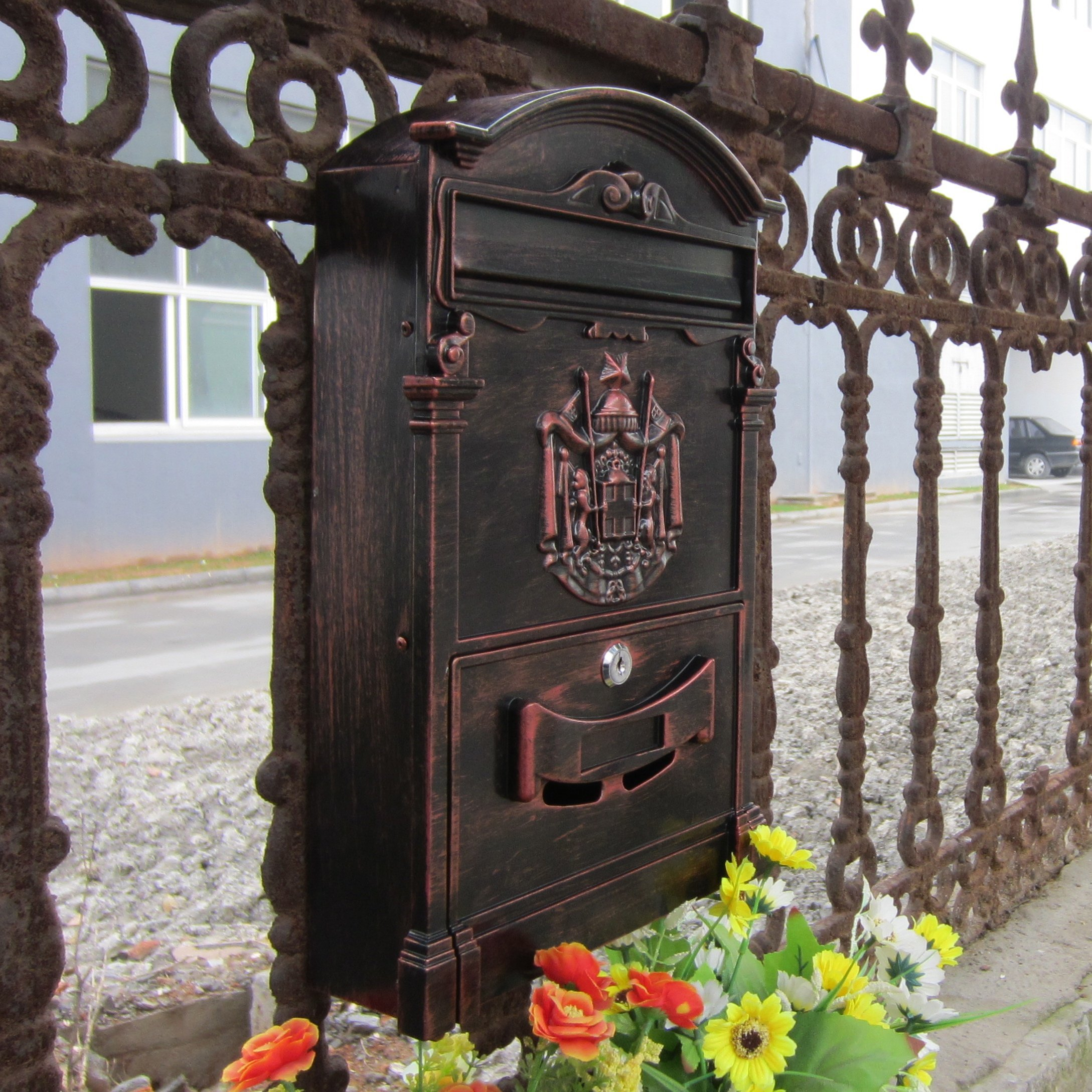 Traditional Aristocratic, Sun Identity Villa Cast Aluminum Mailboxes 49 Colors Available (01 Red Antique Bronze)