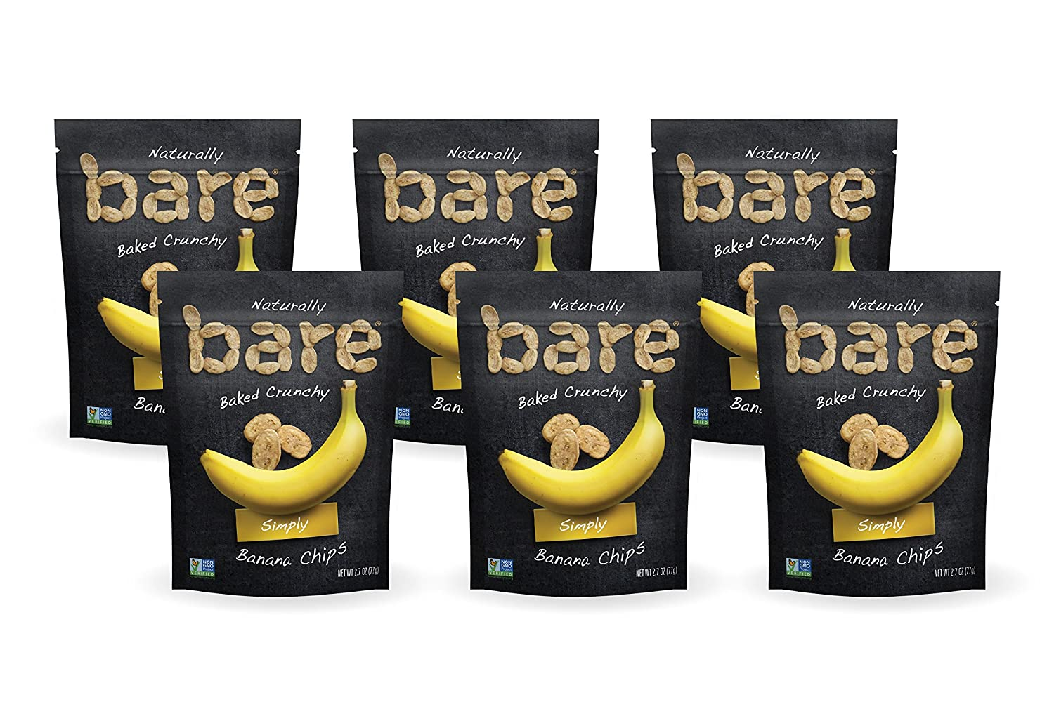 Bare Natural Banana Chips, Simply, Gluten Free + Baked, Multi Serve Bag - 2.7 Oz (6 Count)