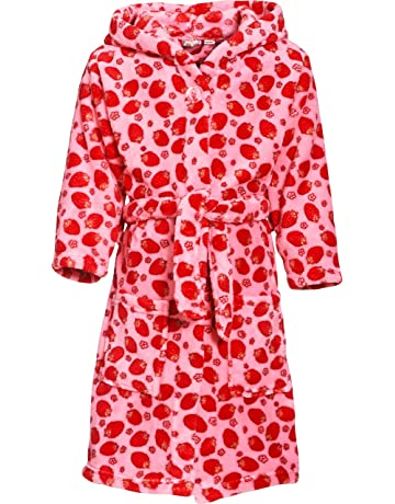 57987a71b03e5 Playshoes Girls Hooded Fleece Strawberries Bathrobe
