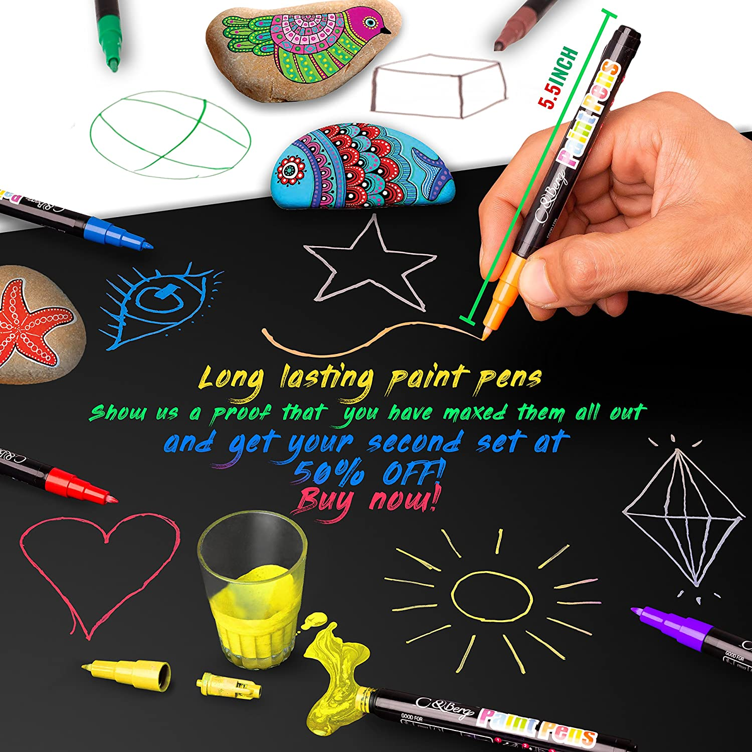 Water Based Colors for Kids Adults 28 Paint Pens Wood Almost All Surfaces Model 2019 Skin Glass Paint Marker Pens Metal Clothes Ceramic Paint on Rock Sun and Water Resistant Fine Point