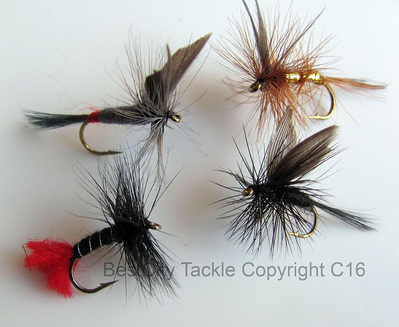 Mosca seca pesca moscas mejor UK x 40 trucha ROD FLY cuarenta moscas secas Hangerworld #8