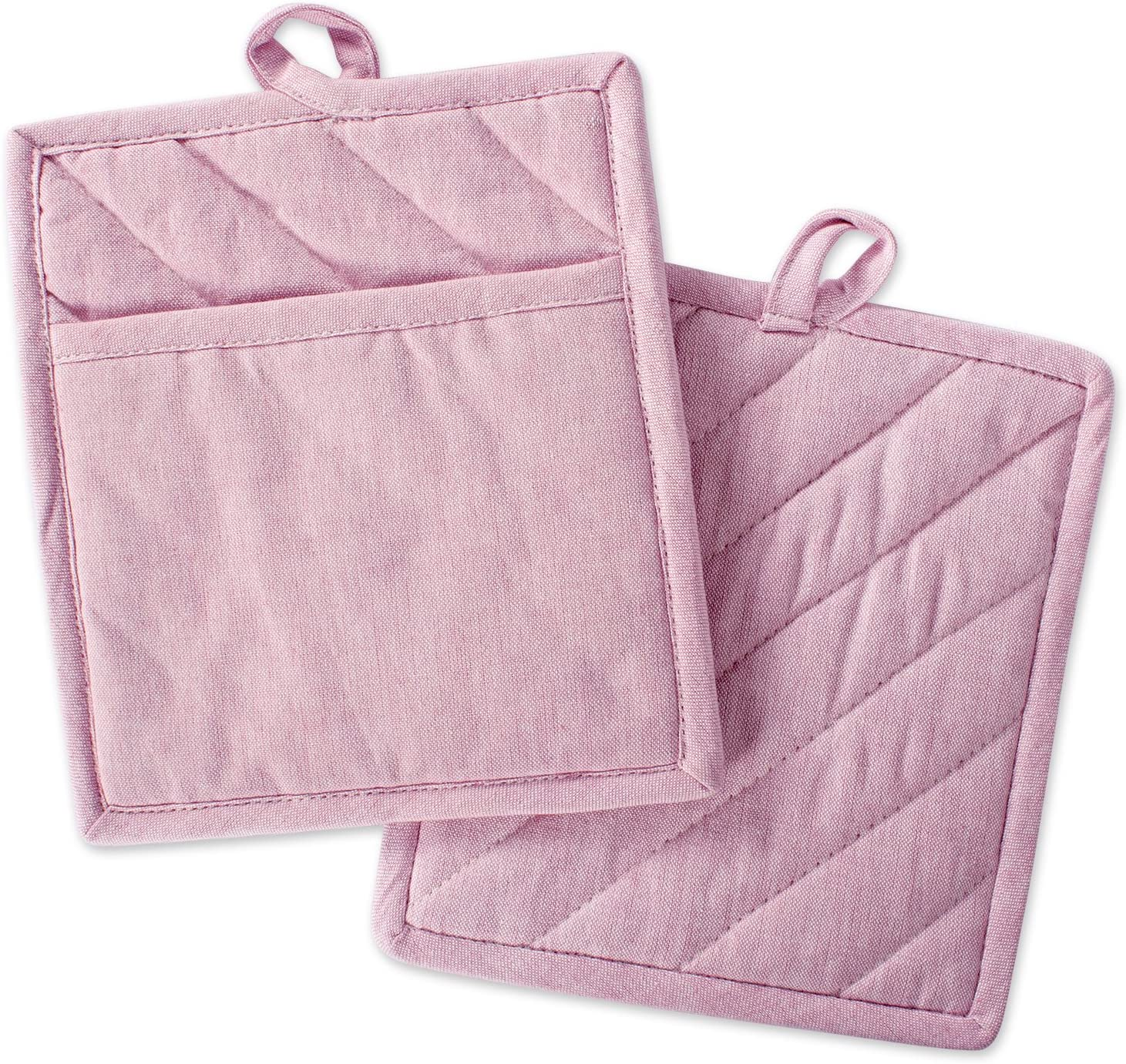 """DII Cotton Chambray Pot Holders with Pocket, 9x8"""" Set of 2, Machine Washable and Heat Resistant Pocket Mitts for Kitchen Cooking and Baking-Rose Pink"""