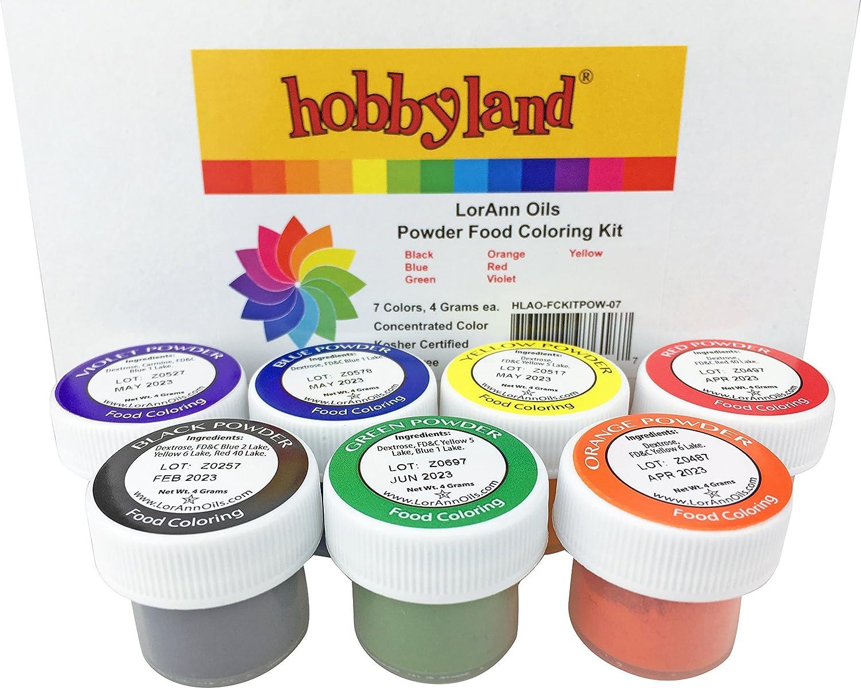 Hobbyland LorAnn Oils Food Coloring Kits (Powder Food Color Kit, 7 Colors, 4 Gram Jars)