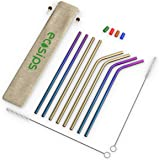 Premium and Reusable Stainless Steel Straws by EcoSips™ 8 Gold & Rainbow Straws, Dishwasher Friendly with 2 Cleaning Brushes & 4 Mouth Tips - Suitable for hot Drinks, Milkshakes & Cocktails.