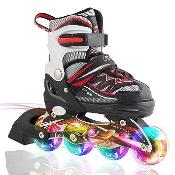 2pm Sports Ciro Patines en línea tamaño ajustable Ilumina LED ruedas para niño y niña - Rojo S: Amazon.es: Deportes y aire libre