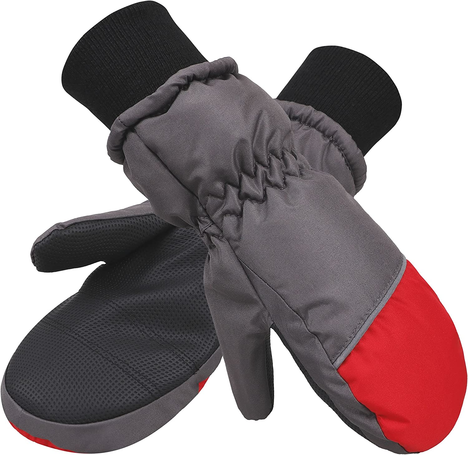 ANDORRA Boys Color Block Weather-Proof Thinsulate Snow Mittens Long Snow Cuff