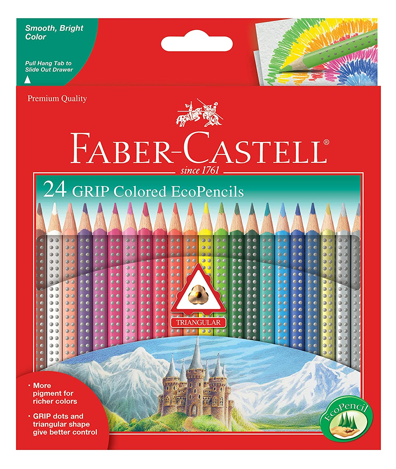 Faber-Castell Triangular Color Pencil Set of 24 Colors Luscombe G G T Luscombe 9121024 Non-Classifiable