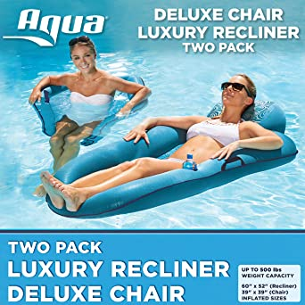 Amazon.com: Aqua AZL16263 - Tumbona hinchable para piscina ...