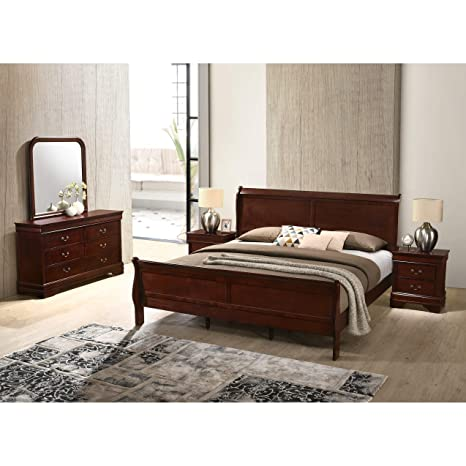 5Pc Queen// King Sleigh Bedroom Set Louis Philippe Style in Black// Cherry Finish