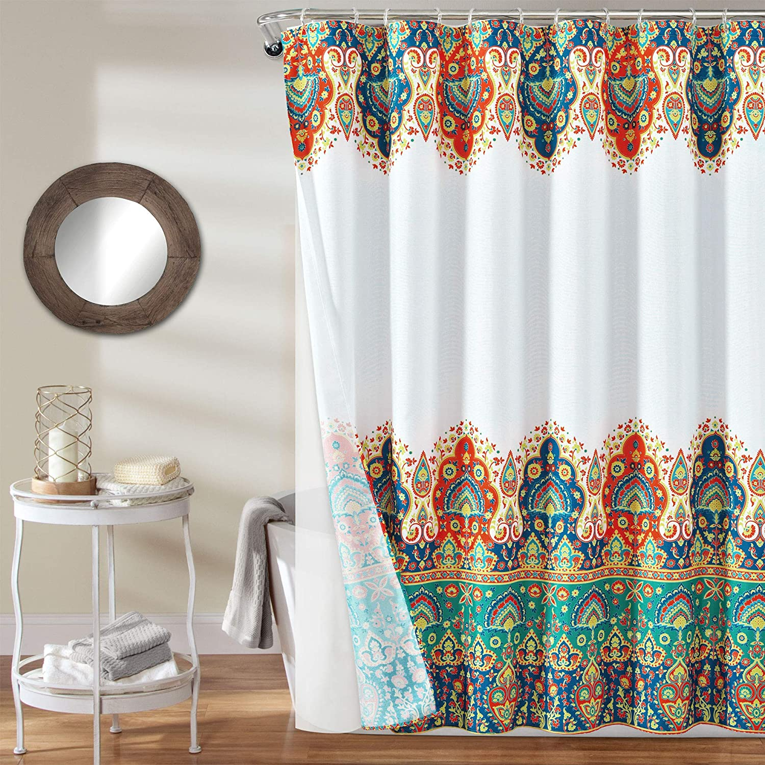 Lush Decor - 16T004413 Bohemian Meadow Shower Curtain with Peva Lining and Rings, 14 Piece Complete Set, 72