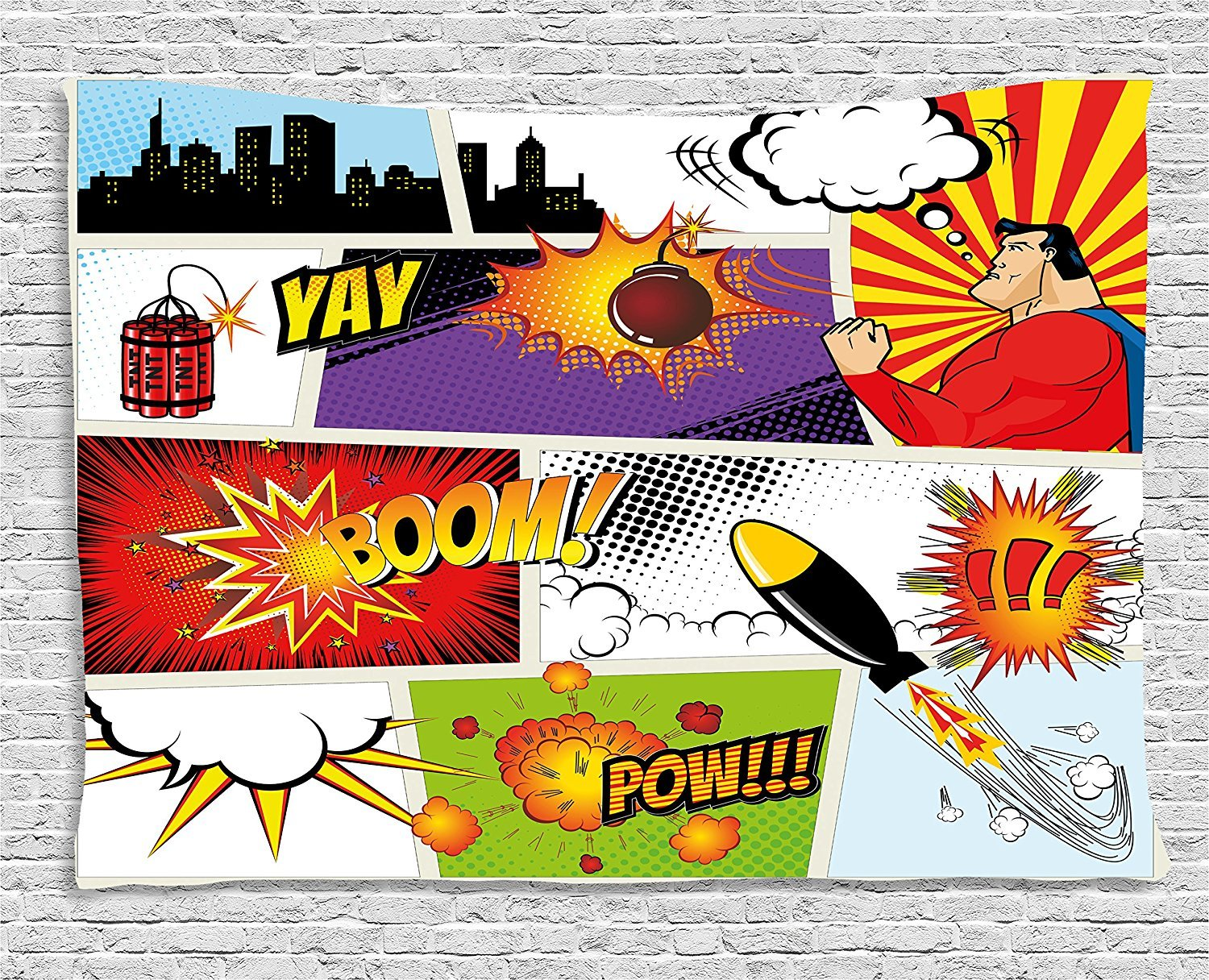 asddcdfdd Superhero Tapestry, Retro Comic Book Speech Bubbles Mock-Up Symbols Sound Effects Anger Brave Graphic, Wall Hanging for Bedroom Living Room Dorm, 80 W X 60 L Inches, Multicolor