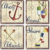 Nautical Ahoy Coast Shore Atlantic Prints; 4-12x12 Paper Posters (Border Shown is Part of Print)