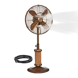 "Oscillating Fan with Misting Kit - 3 Cooling Speeds with High RPM, Adjustable Height - Art Deco Floor Fan, 19"" Stand with Weighted Base - Includes Misting Kit for Outdoor Use"