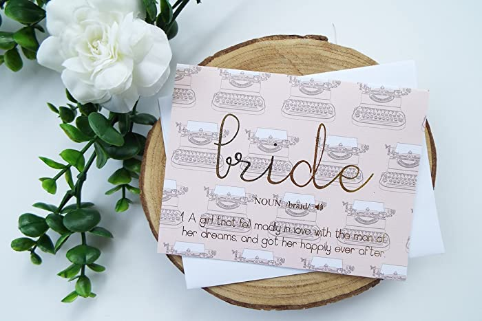 bride congratulations gold foiled card greeting card wedding bridal engagement bachelorette card bridal