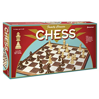 Family Classics Chess by Pressman -- With Folding Board and Full Size Chess Pieces: Toys & Games