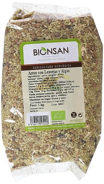 Bionsan Arroz Integral, Lentejas y Algas - 3 Paquetes de 1000 gr - Total: