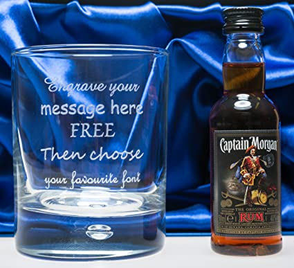 Engraved Personalised Glass Tumbler Captain Morgan Rum In Silk Gift Box For Boys