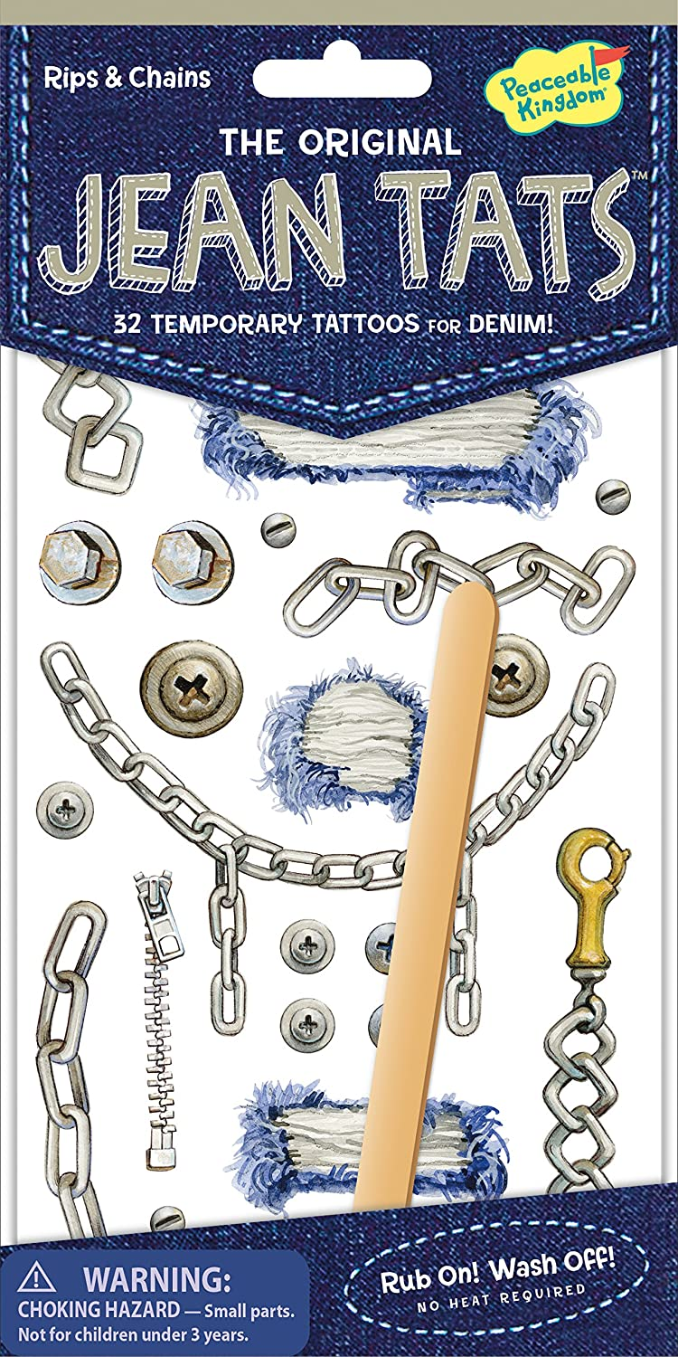 Peaceable Kingdom Jean Tats Rips and Chains Temporary Tattoos for Fabric Mindware