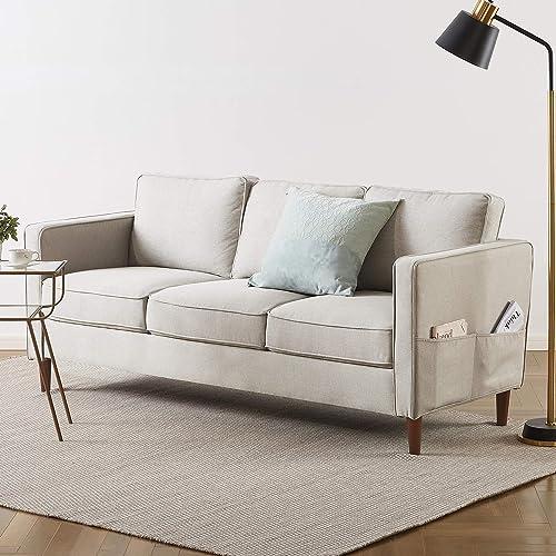 Mellow HANA Modern Loveseat Sofa Couch with Armrest Pockets, Sand Grey