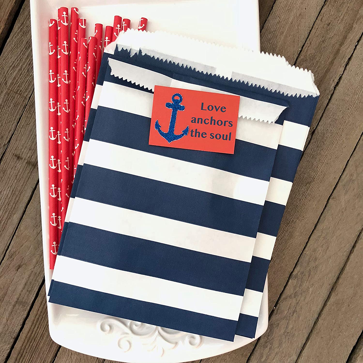 48 Pack Baker/'s Bling Stripe Favor Bags 5.5 x 7.5 Inches Navy Blue Silver and White Treat Sacks
