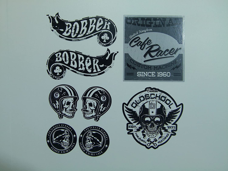 Mg612 Aufkleber Set Bobber Breite Je Sticker Ca 6cm 3cm Cafe Racer Old School Scrambler Motorrad Biker Rocker Auto