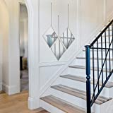PARNOO - Espejo de pared con cadena y marco de oro rosa con diseño de diamante de 9,5 x 12 pulgadas, espejo colgante…