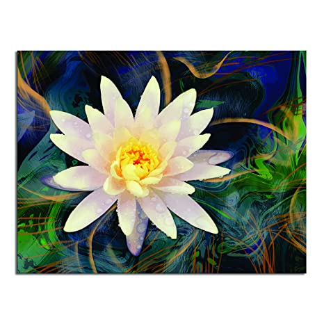 Art Tantra White Lotus Acrylic Painting Frame On Modern Abstract