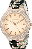 Vernier Women's VNR11167BK Rhinestone-Accented Rose Gold-Tone Watch