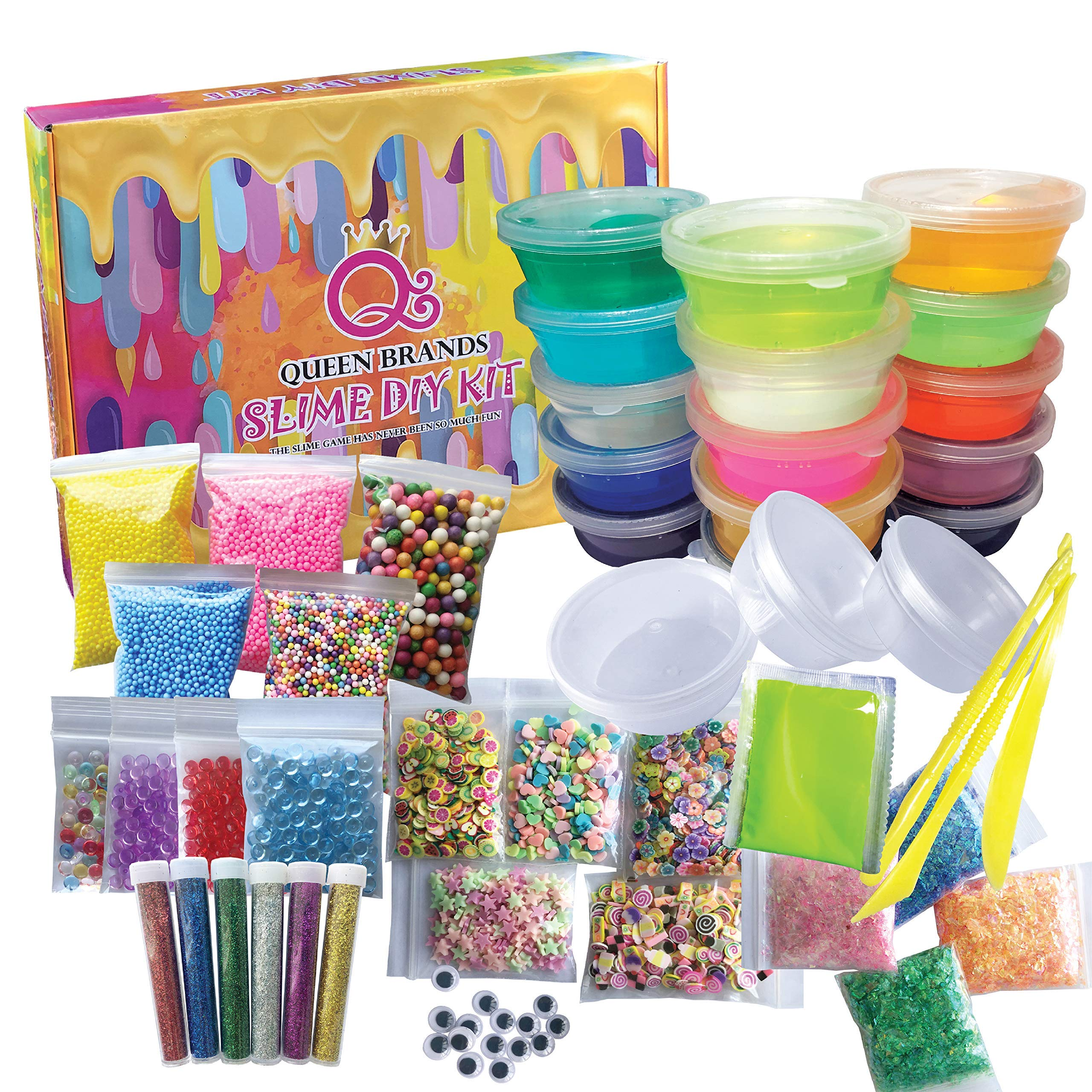 QueenBrands DIY Slime Kit Supplies for Girls & Boys| 15 Colorful Crystal Slime+3 Empty Containers | Add Glitter,Make it Glow in The Dark | Fluffy | Water Based StressToys