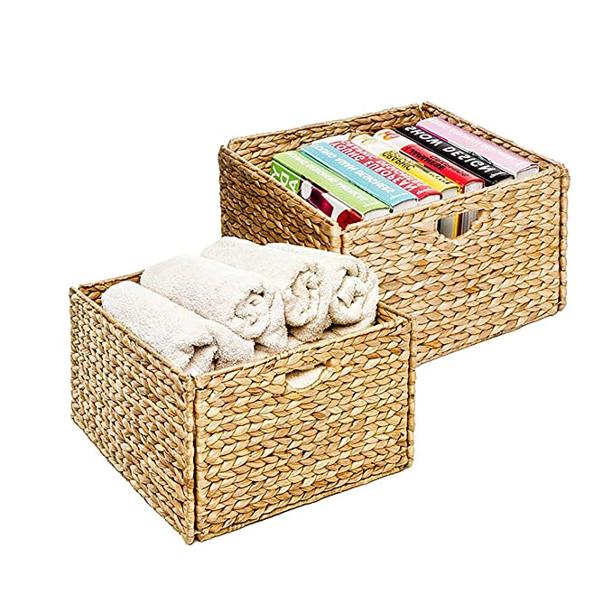 Seville Classics Foldable Handwoven Water Hyacinth Cube Storage Basket Bin, Rectangular (2-Pack): Amazon.in: Home & Kitchen