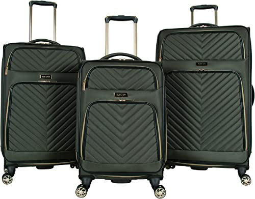 Kenneth Cole Reaction Women s Chelsea 3-Piece 20 24 28 Chevron Quilted Softside Expandable 8-Wheel Spinner Luggage Set, Olive