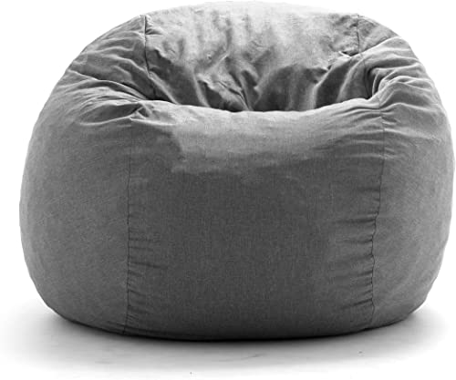 Big Joe King Fuf Gray Union Foam Filled Bean Bag,