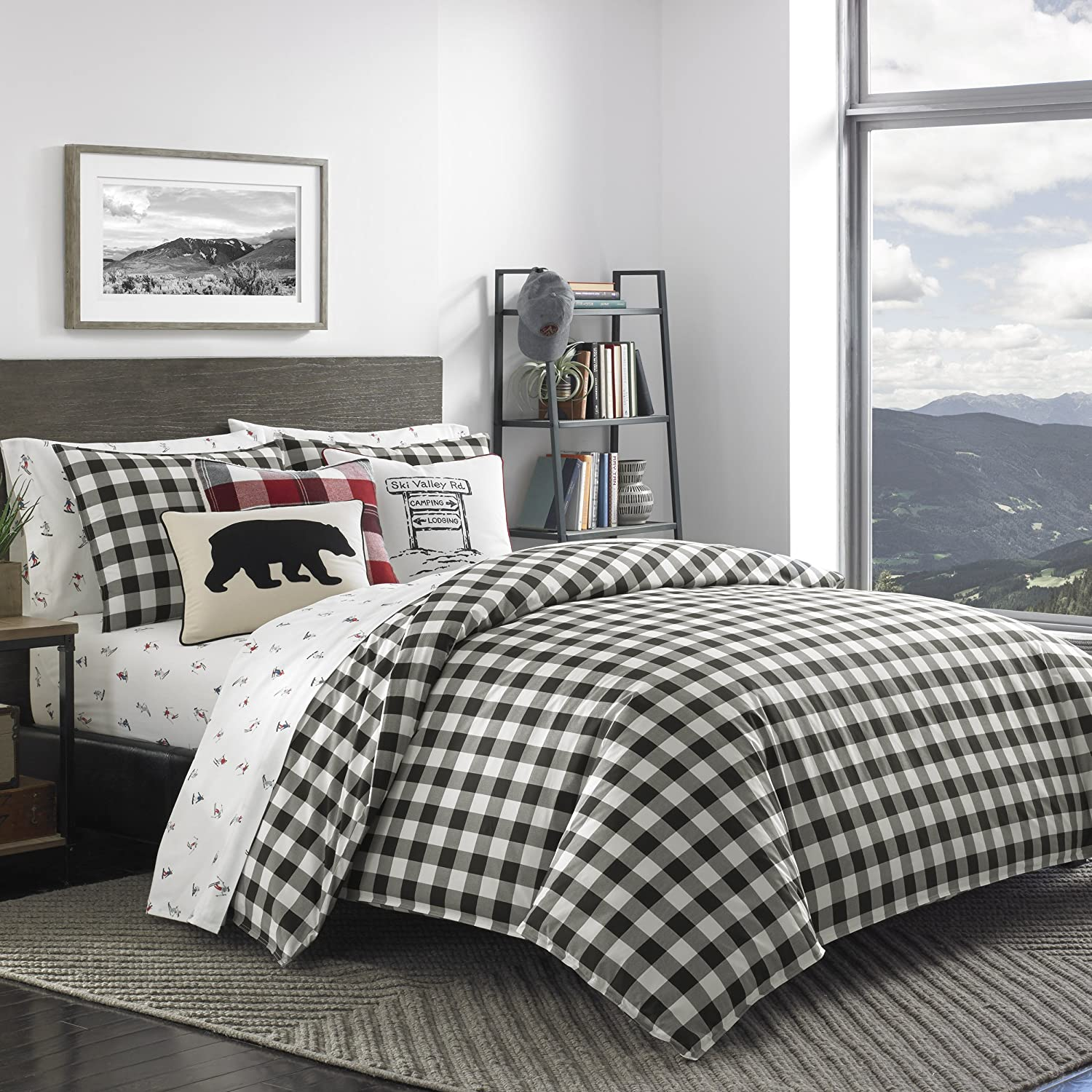 Eddie Bauer Mountain Plaid Comforter Set, King, Black