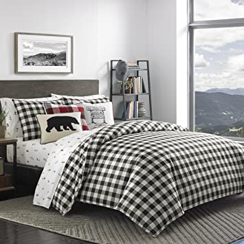 Eddie Bauer Mountain Plaid Duvet Cover Set, Full/Queen, Black