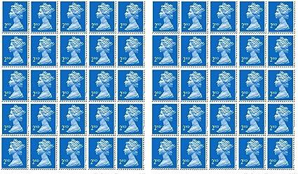 50 x 2 nd clase sellos Royal Mail oficina de correos: Amazon.es: Oficina y papelería