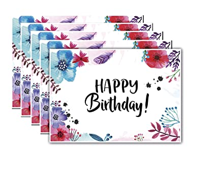 5 tarjetas de cumpleaños Flores Acuarela, tarjetas postales ...