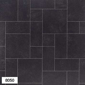 8050 Portland Black Tile Effect Anti Slip Vinyl Flooring Home Office