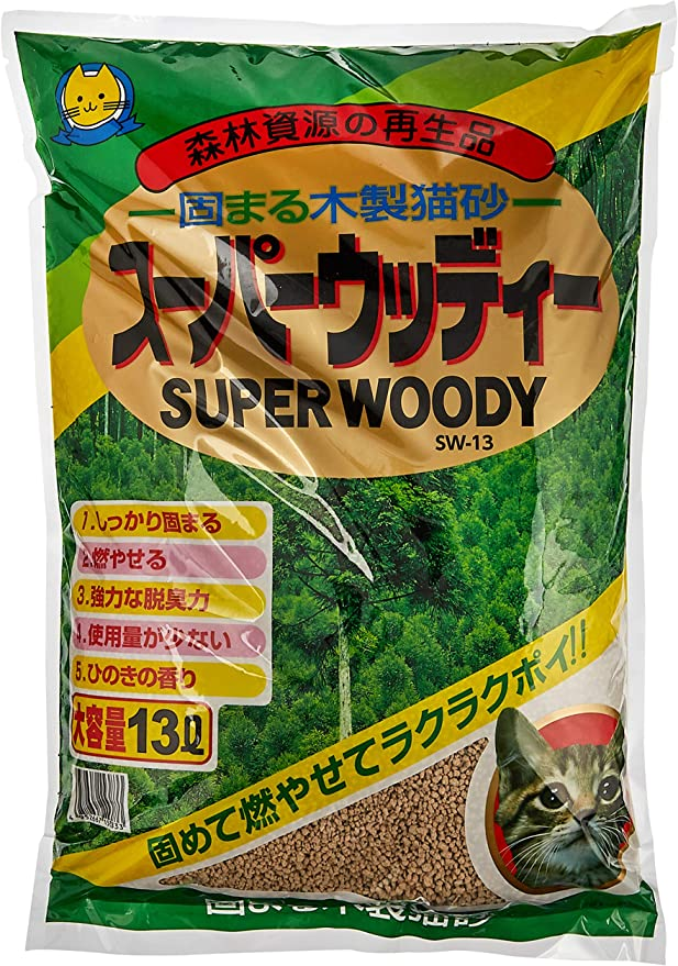 常陸化工 猫砂 スーパーウッディー 13Lx4個 (ケース販売)