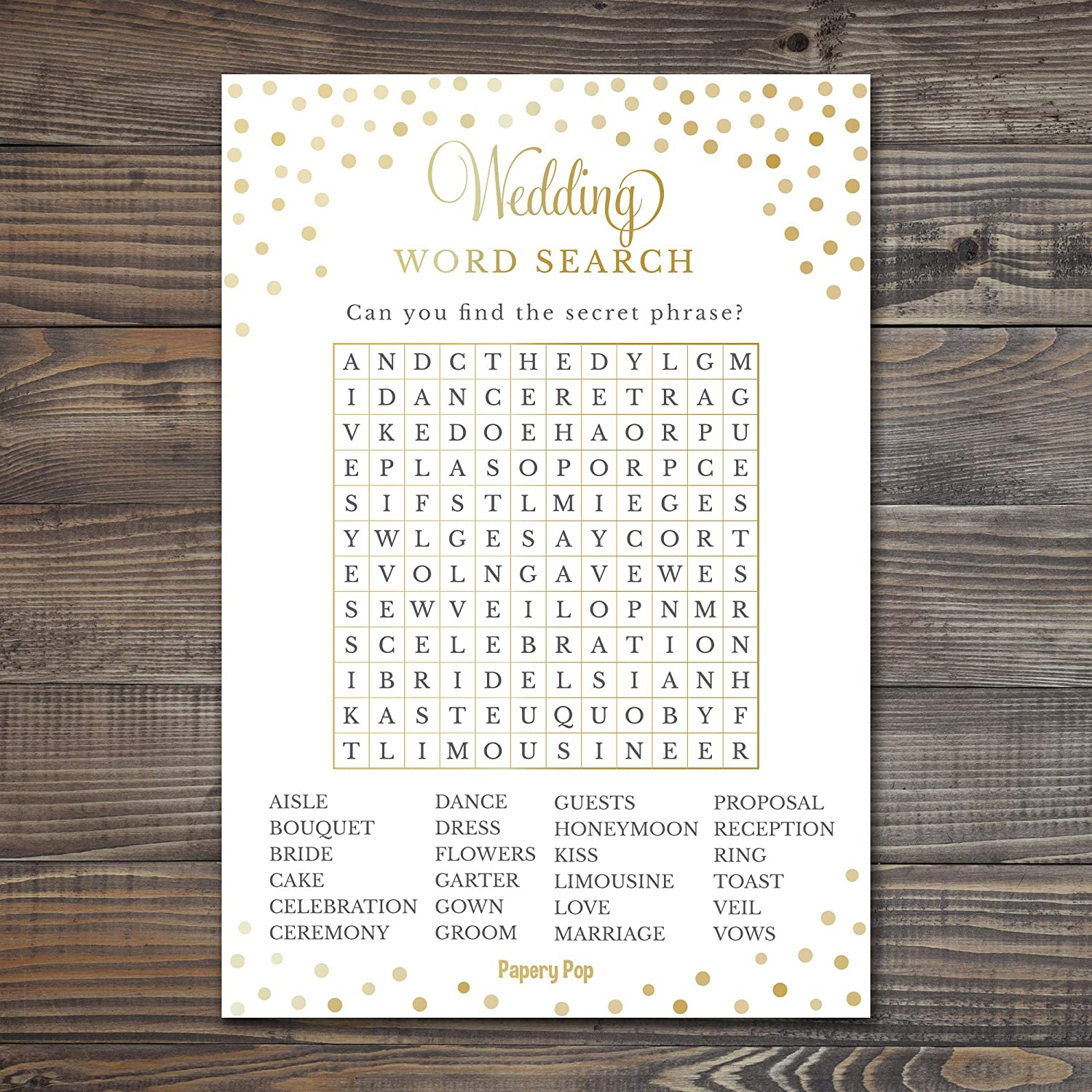 50 Pack Bachelorette Party Games Ideas Activities Supplies Wedding Word Search Game Cards - Bridal Shower Games